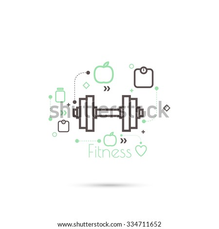 Apple and dumbbell with weights. The concept of  healthy diet and weight loss. minimal. icon. - stock vector