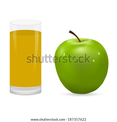 apple and glass of juice - stock vector
