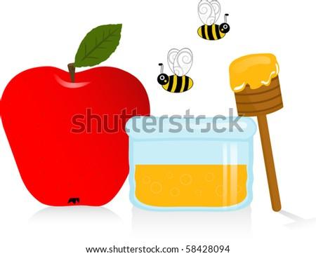 Apple and Honey Jewish New Year Symbols Vector Illustration - stock vector