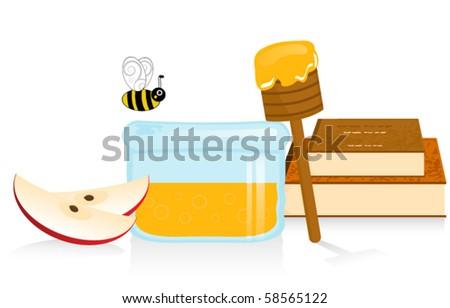 Apple and Honey Vector Illustration - stock vector