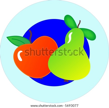 Apple and pear on a plate - stock vector