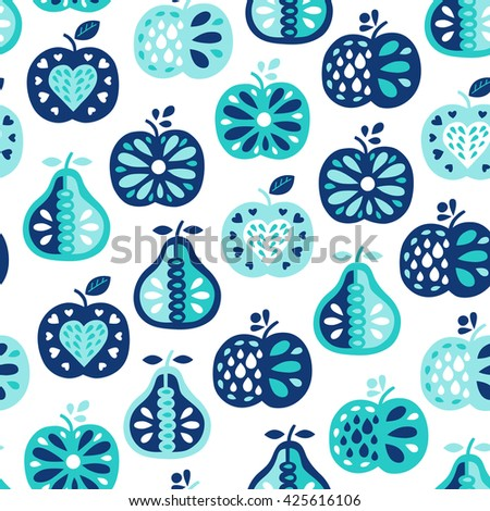 Apple and pear seamless pattern. Fruit background. Vector illustration. Wrapping. Surface design. - stock vector