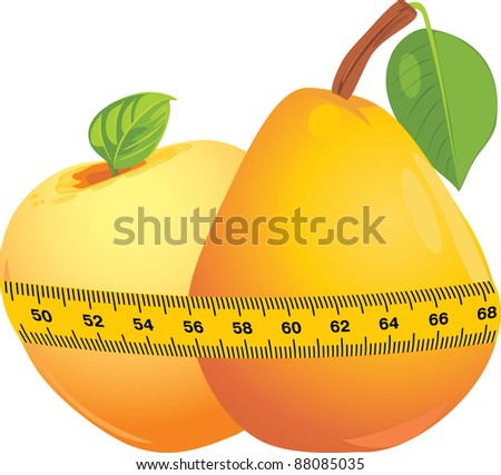 Apple and pear with measuring tape. Vector - stock vector