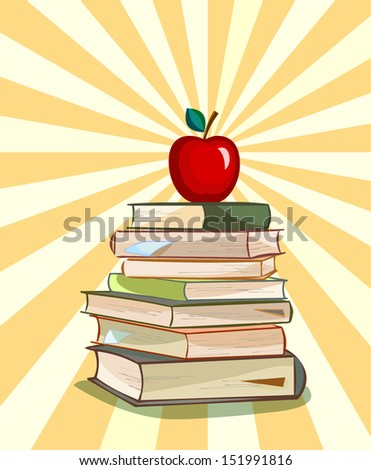 apple as a symbol of learning on a stack of books,vector illustration - stock vector