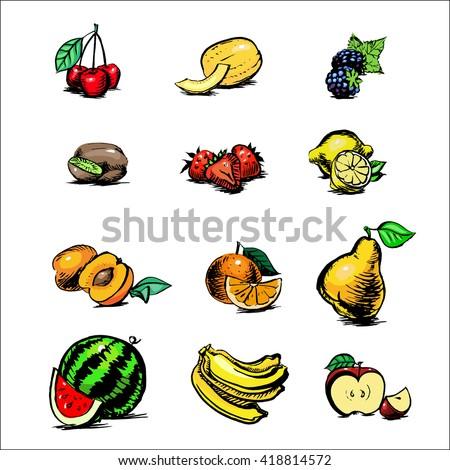 apple, blackberry, apricot, watermelon, banana, kiwi, orange, cantaloupe, cherries, strawberries, kgrusha, lemon, fruit and ovozi watercolor vector set of icons - stock vector