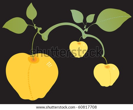 Apple branch yellow - stock vector