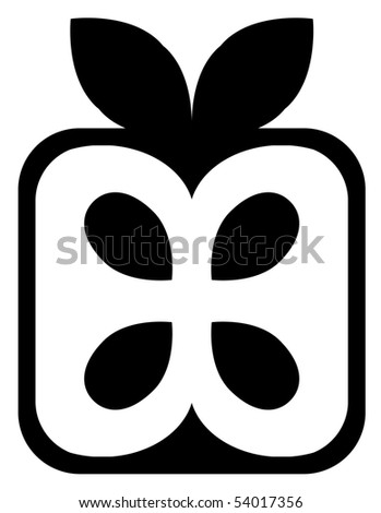 apple cube icon black and white - stock vector