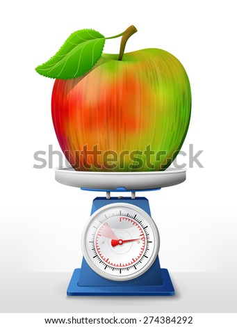 Apple fruit on scale pan. Weighing apple with leaf on scales. Vector illustration about apple, agriculture, fruits, cooking, gastronomy, etc. It has transparency, masks, blending modes, mesh - stock vector