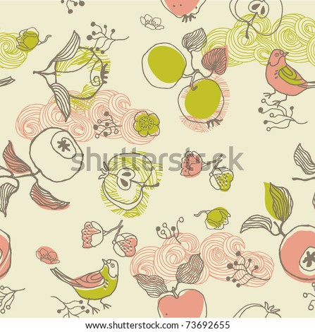 apple fruits and birds. seamless pattern - stock vector