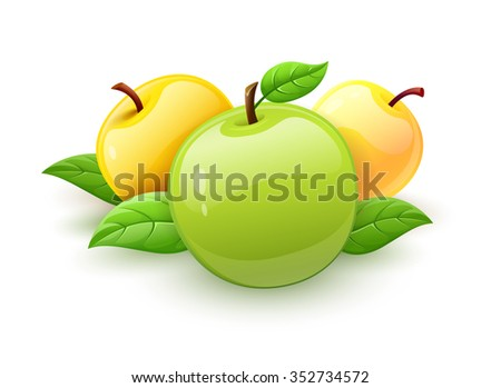 Apple fruits with green leaves vector. vector illustration. Isolated on white background. Transparent objects used for lights and shadows drawing. - stock vector