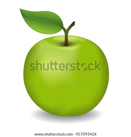 Apple, Granny Smith, fresh, natural, orchard garden fruit isolated on white background.    - stock vector
