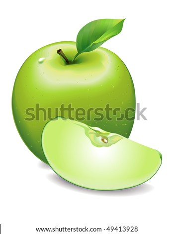 Apple green with slice and leaf - stock vector