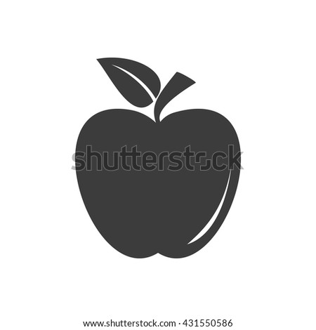 Apple icon. Apple Vector isolated on white background. Flat vector illustration in black. EPS 10 - stock vector