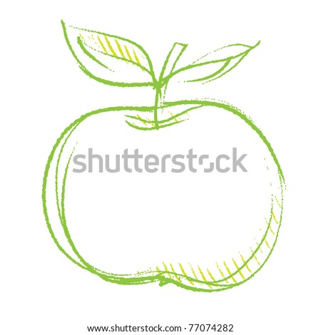 apple icon, freehand linear drawing vector - stock vector