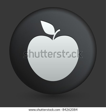 Apple Icon on Round Black Button Collection Original Illustration - stock vector