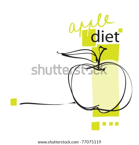 apple icon, page layout, freehand drawing vector - stock vector