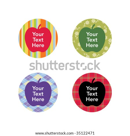 Apple icons for back-to-school season - stock vector