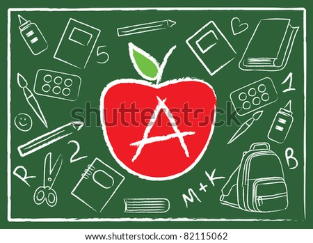 apple in the middle of school colorful accessories on green - stock vector