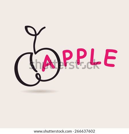 Apple logo. Vector logo freehand drawing art - stock vector
