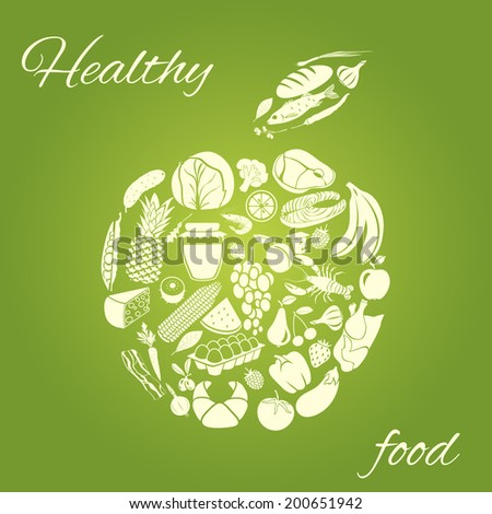 Apple made of fruits vegetables meat and grocery healthy organic food concept vector illustration - stock vector