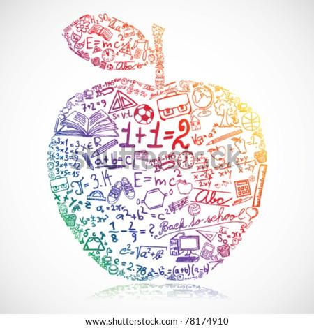 Apple made of school symbols - stock vector