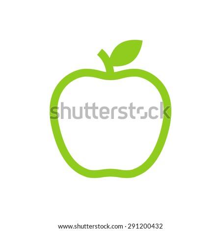 Apple outline icon, modern minimal flat design style, vector illustration - stock vector