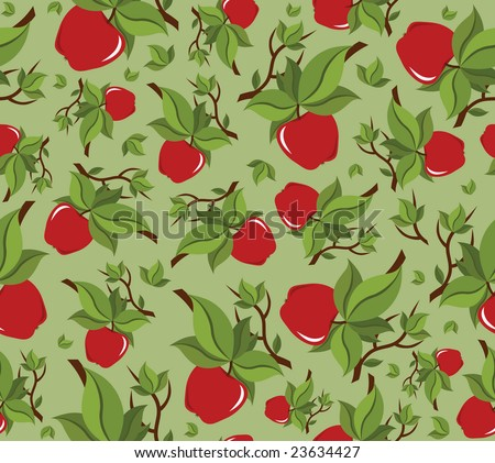 Apple seamless background pattern (vector) - stock vector