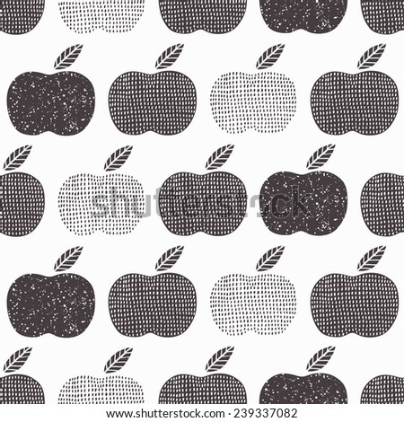 Apple seamless background. Vector illustration.  - stock vector