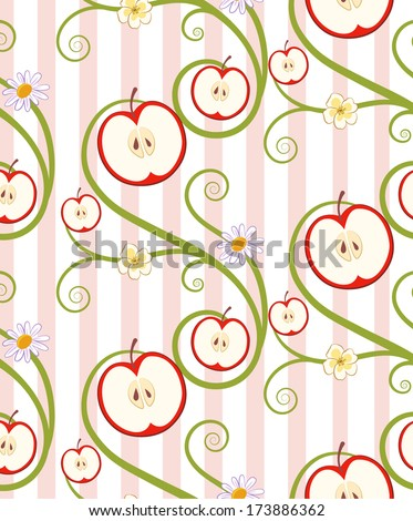 Apple slices and flowers with pink stripes seamless pattern. EPS10 (Pattern tile is located in the swatch panel) - stock vector