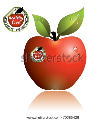 Apple stickers for healthy food. Vector - stock vector