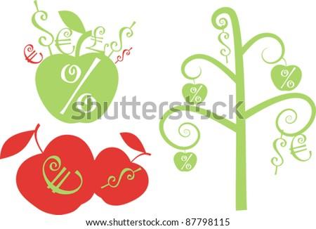 Apple theme with money symbols - stock vector