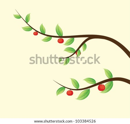 Apple tree branch - stock vector
