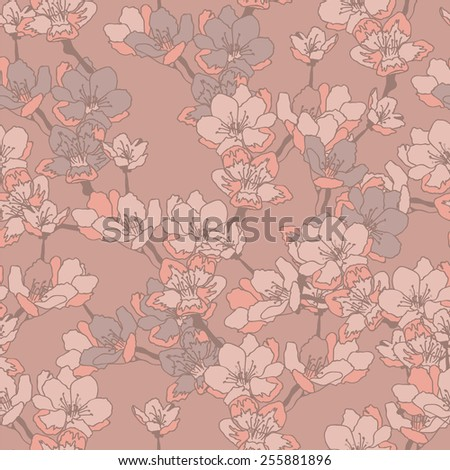 Apple tree branch. Seamless pattern. - stock vector