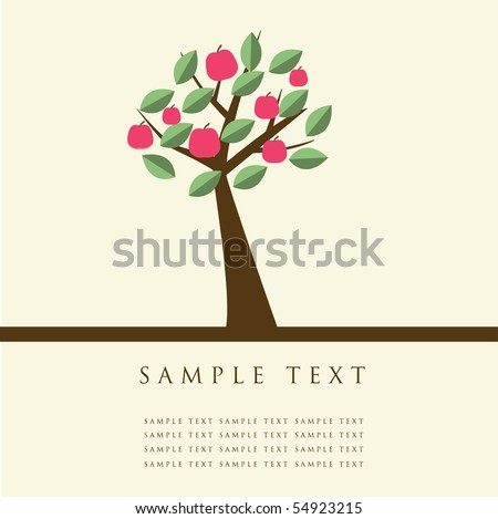 Apple tree. Design for greeting card - stock vector