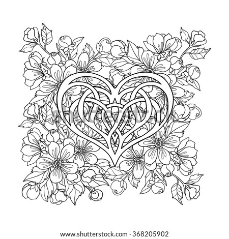 Apple Tree Flowers Pattern With Love Heart Good For Coloring Book Adult And Older