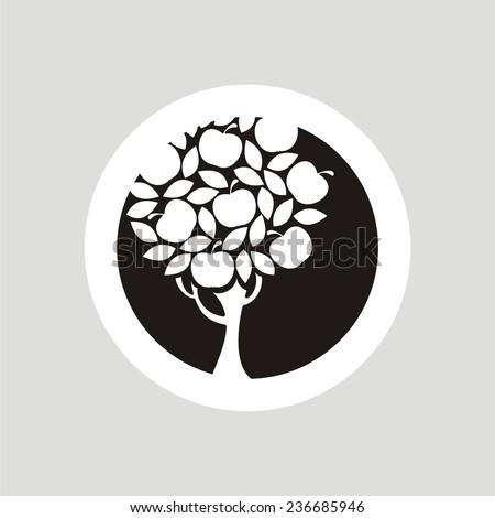 Apple tree icon. Vector silhouette. - stock vector