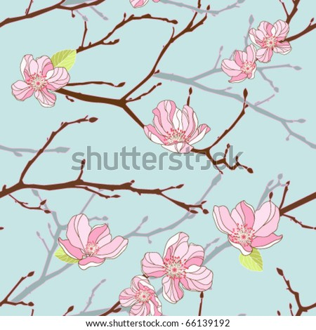 Apple-tree seamless background - stock vector