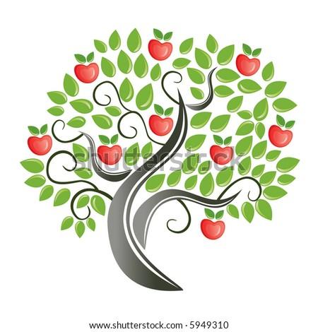 Apple tree vector - stock vector