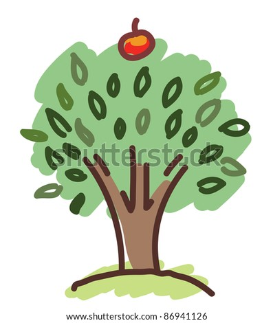apple tree with a single apple - stock vector