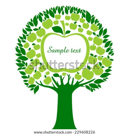 apple tree with green apples isolated on White background. Vector illustration  - stock vector