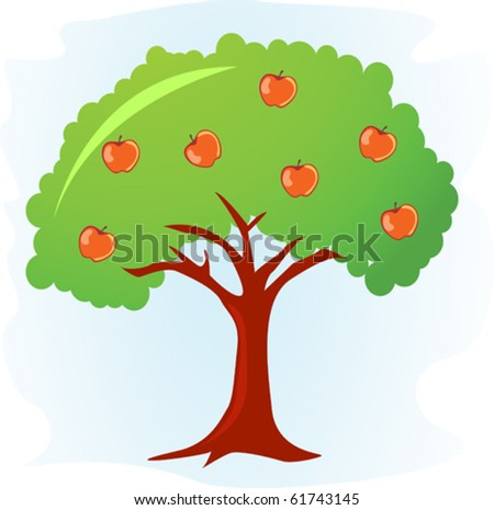 apple tree with ripe red apples - stock vector
