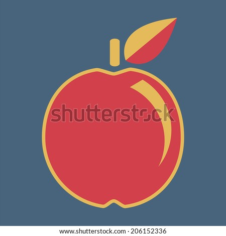 Apple, vector, flat icon (from set Back to school) - stock vector