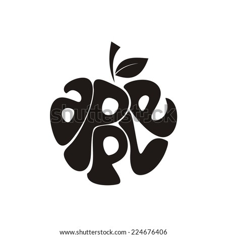 Apple. Vector silhouette.  - stock vector