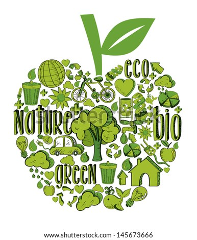 Apple with environmental hand drawn icons in green. This illustration is layered for easy manipulation and custom coloring - stock vector