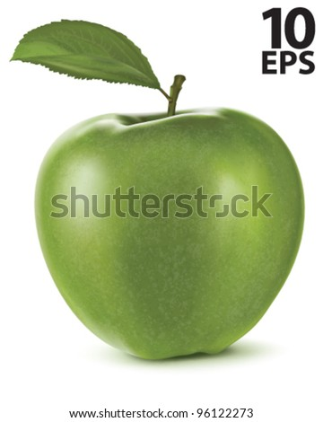 Apple with green leaf. Vector illustration - stock vector