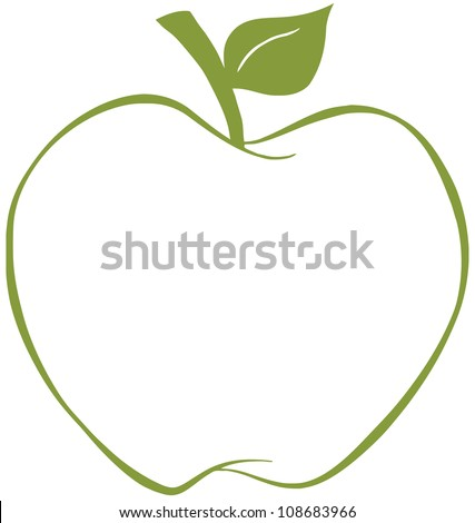 Apple With Green Outline .Vector Illustration - stock vector