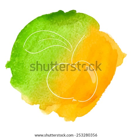 Apple with  leaf  on  yellow and green watercolor  background. Vector illustration. - stock vector
