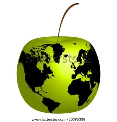 Apple with world map on it vector illustration