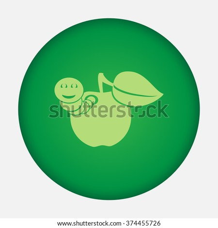 Apple with worm vector icon - stock vector
