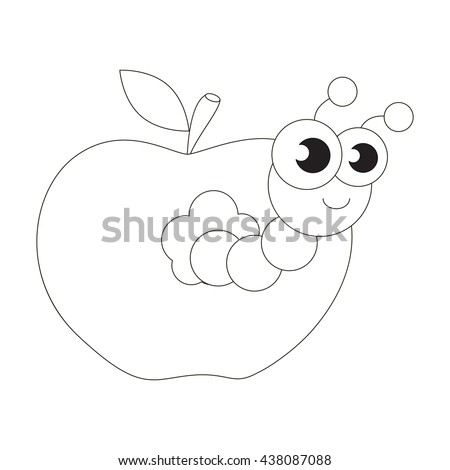 Apple Worm To Be Colored Coloring Book Educate Kids Learn Colors Visual